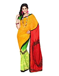 Fabdeal Stylish Indian Designer Wear Yellow & Red Printed Saree (MOASR8316ADP)