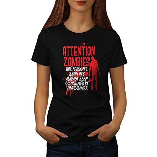 Attenzione Zombie Gioco Video Giocare Da donna Nuovo Nero T-Shirt XXL | Wellcoda