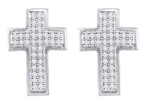 Pricegems 10K White Gold Ladies Round Brilliant Diamond Post and Screw Back Pave Set Cross Stud Earrings (1/5 cttw, I-J Color, I1/I2 Clarity)