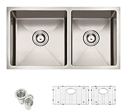 "Starstar 32.75"" Undermount Stainless Steel 60/40 Double Bowl Kitchen Sink W/Grids"