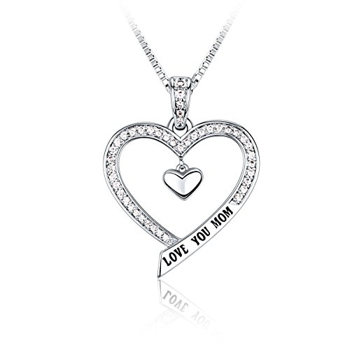 MOM Necklace CZ Rhodium Plating Love Heart Fashion Jewelry, 18