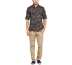 Copperstone Men's Casual Shirt (8903944567368_Dark Grey_X-Large)