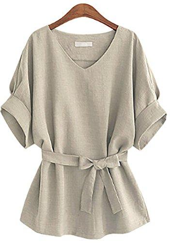 QZUnique Women's Plus-Size Fashional Slim-Fit Blouse Light Grey 5XL