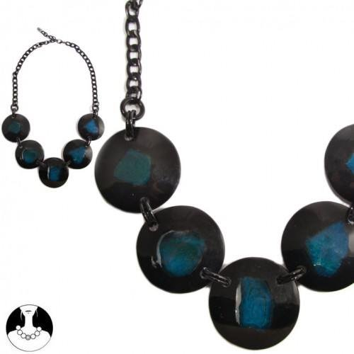 sg paris women necklace necklace agate resine 57cm+ext black and blue natural stone/freshwater pearl