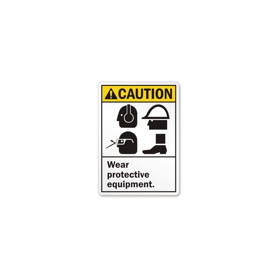 """SmartSign Adhesive Vinyl Label, Legend """"Caution Wear Protective Equipment """", 14"""" high x 10"""" wide, Black/Yellow on White"""