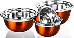 4 Pc Chef Quality Stainless Steel Mixing Bowls - Orange Serving Prep Bowls or Mixing Bowl Set w/ Flat Rim & Base