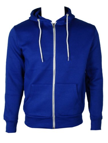 The Home of Fashion Mens Fleece Lined Hooded Jumper-M -Royal Blue