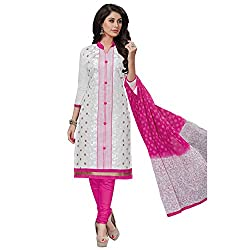 RK Fashion White Color Fine Cotton Unstitched Embroidered Dress Material (MAH112-white-Free Size)