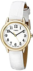 Timex Women's TW2P689009J Easy Reader Gold-Tone Watch with White Leather Band