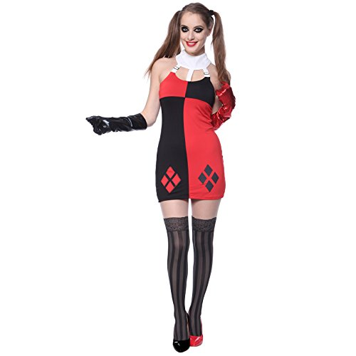 Harlequin Harley Quinn Jester Masquerade Mardi Gras Fancy Dress Up Costume