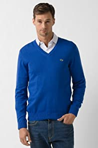 Cotton/Jersey V-Neck Sweater