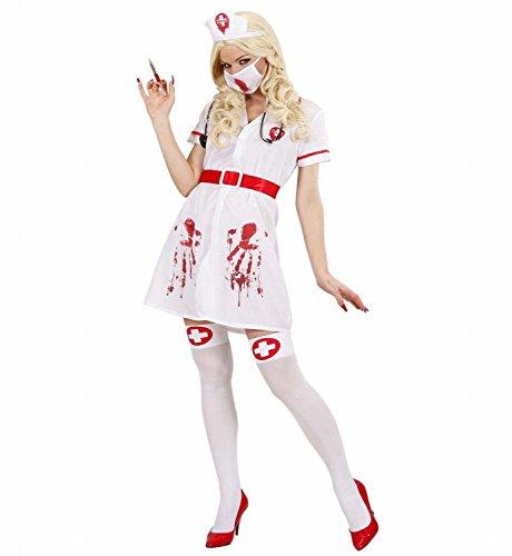 Widmann 87151 - Erwachsenenkostüm Blutige Infizierte Krankenschwester, Kleid mit Gürtel, Kopfbedeckung, Gesichtsmaske und Stethoskop, Größe S