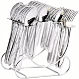 Shapes New Sigma Cutlery Set Of Spoons And Fork 24 Pcs. With Round Stand