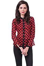 Sassafras Women's Shirt (SFSHRT2003S_Red_Small)