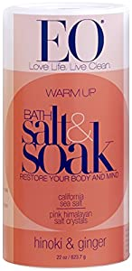 EO Bath Salts, Warm Up, Hinoki & Ginger, 22 oz (Pack of 3)