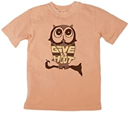 Earth Creations Youth Eco Owl Print on Toddler/Youth Organic Tee Medium Sunstone