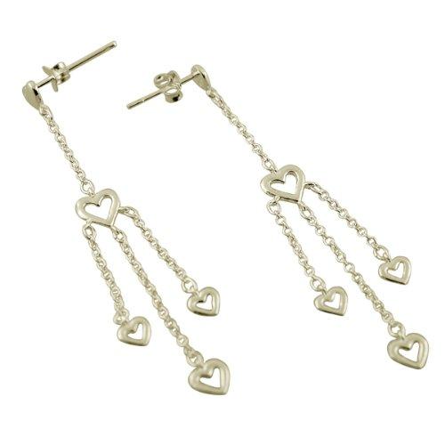 Sterling Silver Open Heart Dangle Earrings. GIFT BOX INCLUDED.