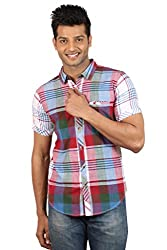 Le Tailor Men's Slim Fit Casual Checkered Shirt (SLCHS110,Grey & Red)