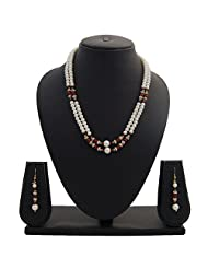 Nisa Pearls Traditional Pearls Necklace Set Adorned With CZ And Red Colored Stones - B00S1H5TSC