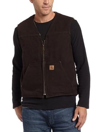 Carhartt Men's Big & Tall Rugged Vest,Dark Brown,Large Tall