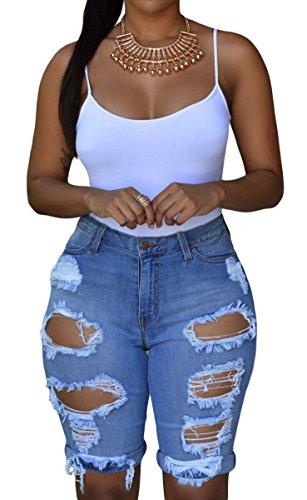 Roswear Women's Denim Destroyed Mid Rise Stretchy Bermuda Shorts Blue Small Blue Cut Off Short