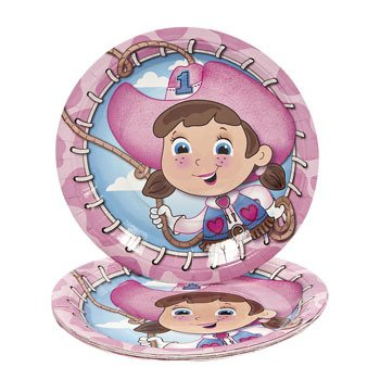 1st Birthday Pink Cowgirl Dinner Plates 8 Count