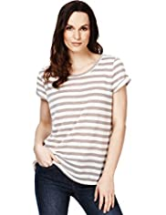 Scoop Neck Blended Striped T-Shirt