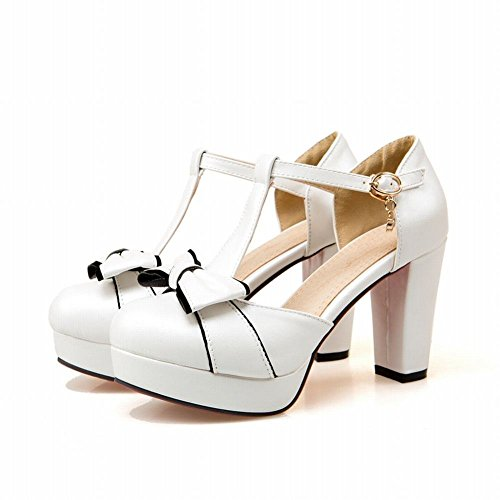 Lucksender Womens Round Toe High Heel Platform T-strap Sandals Pumps With Cute Bowknots 2