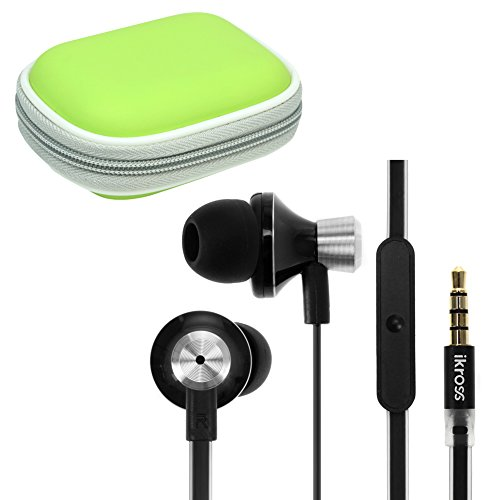 iKross 3.5mm Stereo Earbuds with Microphone + Unripened Headset Case for Acer Aspire Switch 10, ICONIA ONE 7/ TAB 7/ B1-720/ A1-830/ A3-A10, Aspire P3 Ultrabook