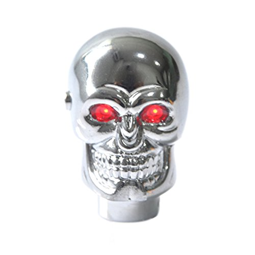 Eternalpower Chrome Skull Shape Head Gear Shift Knob Red LED Eyes Handle Shifter Manual Automatic Shifting Knobs Car Truck Universal (Automatic Red Shift Knob compare prices)
