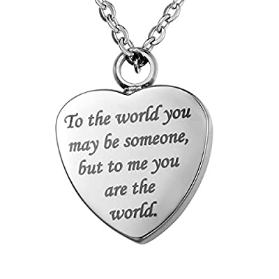 VALYRIA Memorial Jewelry Two Side Heart Urn Pendant Keepsake Ashes Necklace with Personalized Engraving
