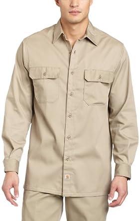 Carhartt Men's  Twill LS Work Shirt, Khaki, Small