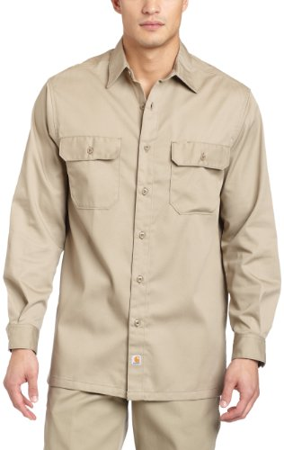 Carhartt Men's Long Sleeve Twill Work Shirt,Khaki,XX-Large Tall
