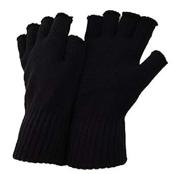 FLOSO® Mens Fingerless Winter Gloves (One Size) (Black)