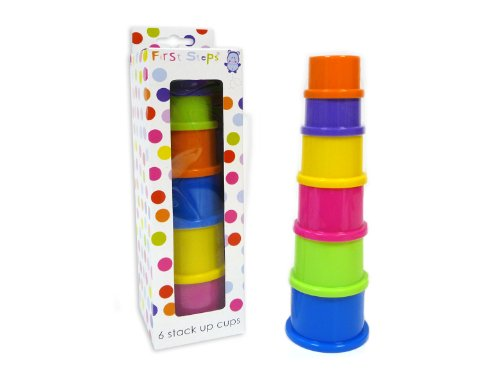 - 6 Coloured Stack Up Cups - Ideal For 6 Months + By First Steps