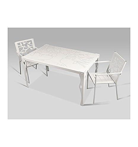 Mesa de jardín Olivares - Grupo 2 - Gris plata (color con incremento de precio), Mesa con medidas de 140x85x76 cm. de alto.