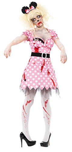 Smiffy'S Women'S Zombie Rodent Costume With Dress Belt And Headband, Pink, Large