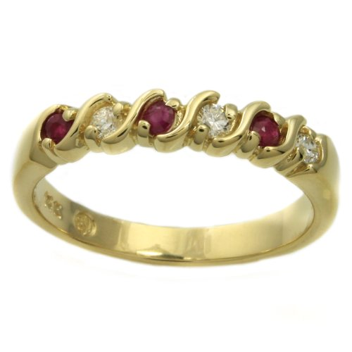 14k Yellow Gold Ruby and 1/10ct TDW Diamond Anniversary Ring (H-I, I1-I2) (Size 6.5)