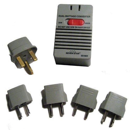 World Travel Voltage Converter Adapter Plug Power Kit 50-1600 Watt Ac Us Eu New front-182772