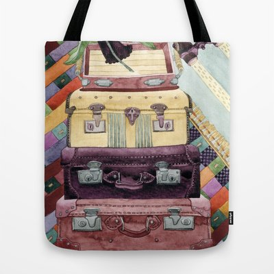 Society6 - Suitcases Binoculars And Color Tote Bag By Yuliya