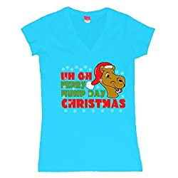 Merry Hump Day Christmas Camel Juniors V-Neck T-Shirt