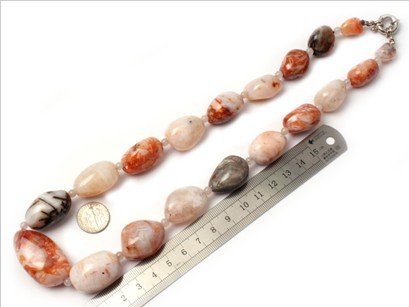 16--30mm graduated bamboo leaf agate beads strand necklace 18