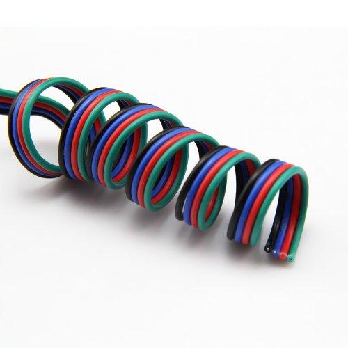 Yorbay 20m LED RGB Verlängerungskabel Anschlußkabel 4-adrig 22AWG Kupferdraht 4 Farbe für LED SMD RGB Strip Streifen