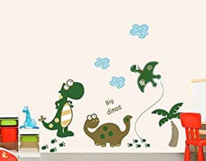 ufengke® Dinosaur Park Cute Little Dinosaurs Wall Decals, Children's Room Nursery Removable Wall Stickers Murals
