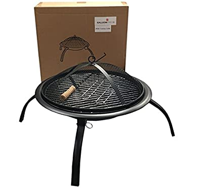 Original Garden Fire Pit 57cm Folding Garden Fire Pit Bbq Fire Pit Bowl Outdoor Garden Firepit Patio Fire Pit Heater Including Grill Grate And Poker And Carry Bag from GalleonFireplaces®