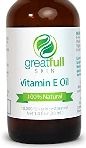 Vitamin E Oil by GreatFull Skin Is a 100% Natural and Premium All Purpose Liquid Serum Ointment - Best Pure Emollient to Hydrate, Nourish, and Moisturize Your Face, Skin, Hair, Hands, and Nails - Heal Scar Tissue - Beneficial for Baby Skin, Acne, Stretch