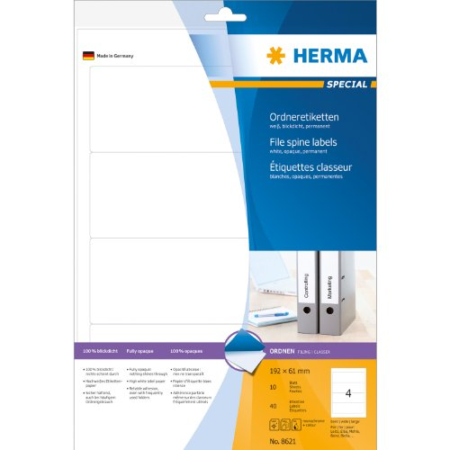 Herma 8621 Ordnerrückenetiketten (A4 Papier matt,...
