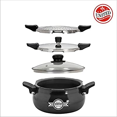 United smart cooker hard andiosed 3in1 (cooker+strainer+server) 5ltr
