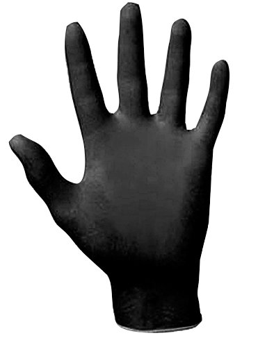 SAS Safety 66518 Raven Powder-Free Disposable Black Nitrile 6 Mil Gloves, Large, 100 Gloves by Weight