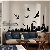 Paris Eiffel Dove Town Building Living Room Wall Art Wallpaper Removable Quotes Wall Sticker Decal